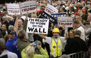 Supporters of republican presidential candidate Donald Trump attend a campaign rally at the Myrtle Beach Sports Center on Feb. 19, 2016 in Myrtle Beach, S.C. (Olivier Douliery/TNS)